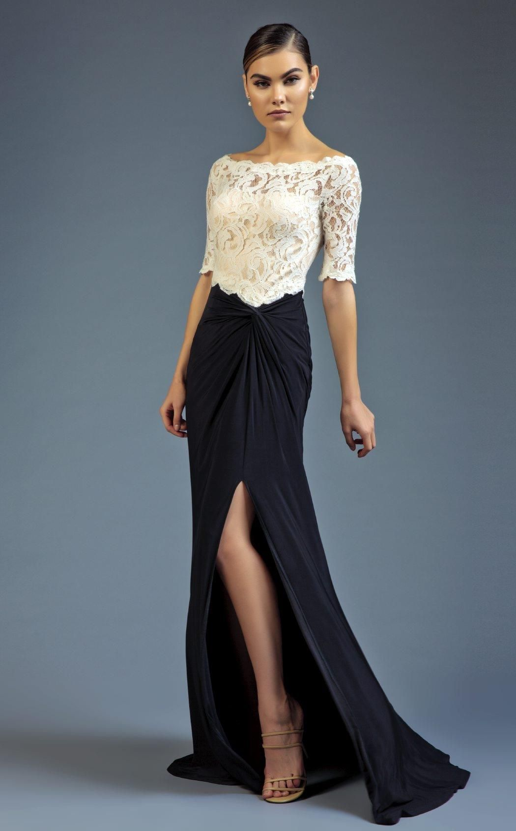 268b9a39470 Look wonderful at your next black tie event in this elegant evening dress  from Mac Duggal 80505D. The scalloped bateau neckline bodice has sheer  elbow ...