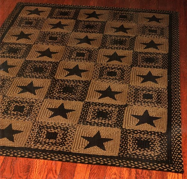 Charming Barn Star Patch Area Rug (Black) Braided Rectangle Country Decor |  Primitive Rugs |