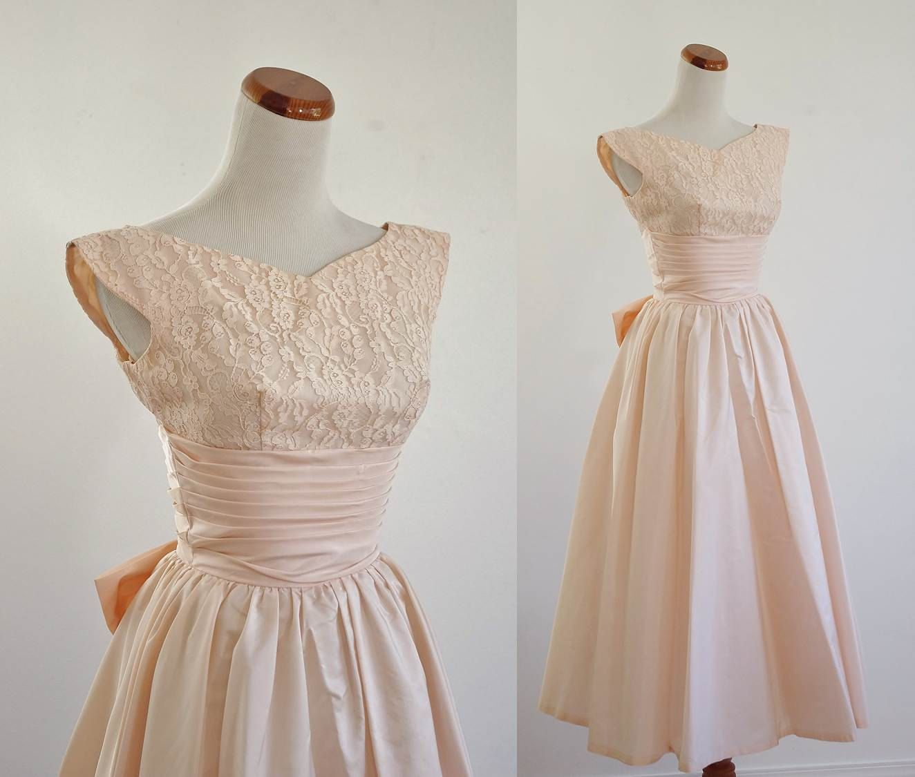 Vintage 50s Prom Dress -- Pale Pink Lace & Taffeta Full Skirt ...