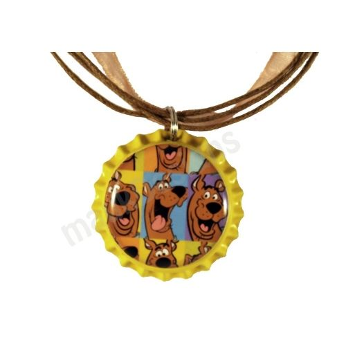 bottle cap jewelry | Yellow SCOOBY DOO inspired Bottle Cap Pendant Necklace