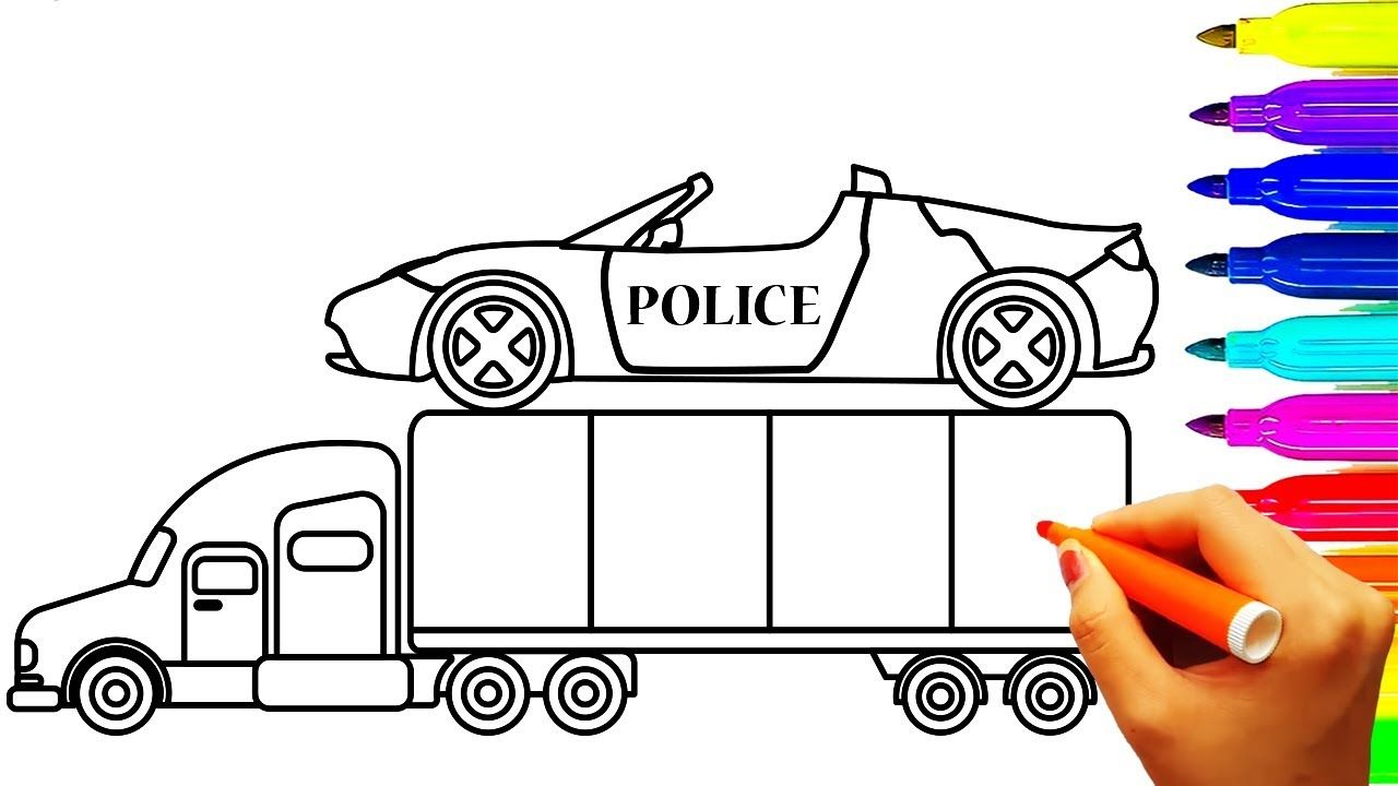 Small Convertible Police Car And Container Coloring Pages