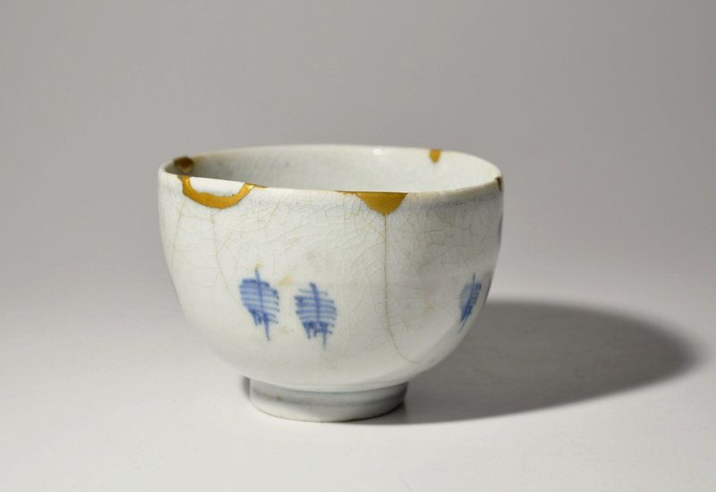 Gold Repaired Imari Blue and White Porcelain Bowl