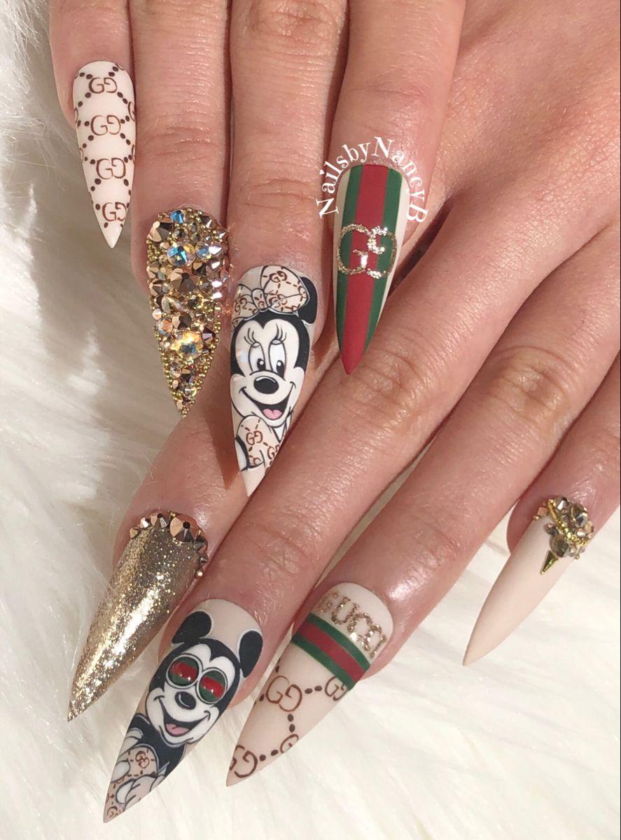 White royal blue rhinestone #nails design #nailart   Nails