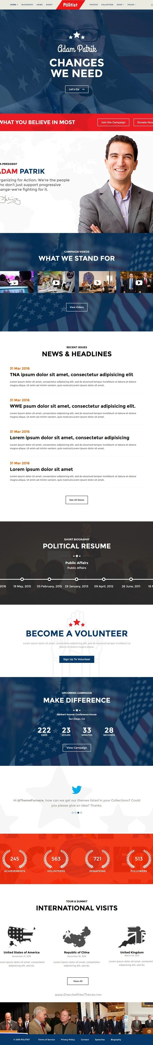 Political Wordpress Theme Political Candidate Campaign