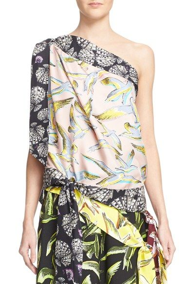8e632ad928e789 EMILIO PUCCI Conchiligie Print One-Shoulder Silk Blouse ...