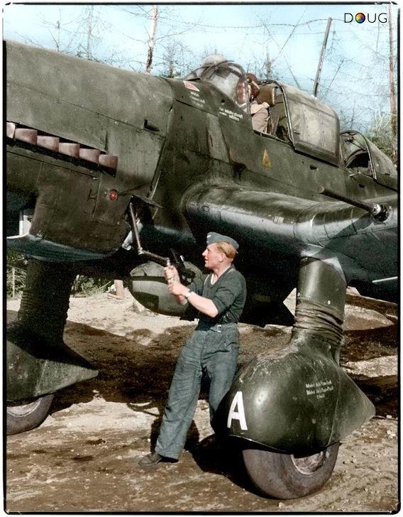 Junkers Ju.87 D-5 'Stuka' of 1.SG3 being hand crank started in Immola, Finland 1944.