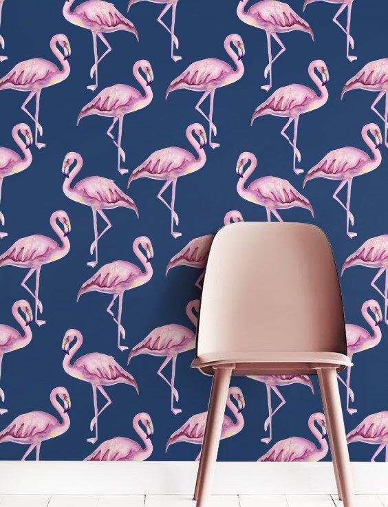 Pink Flamingo Wallpaper Removable Wallpaper Self Adhesive Etsy Pink Flamingo Wallpaper Flamingo Wallpaper Tropical Wall Decor