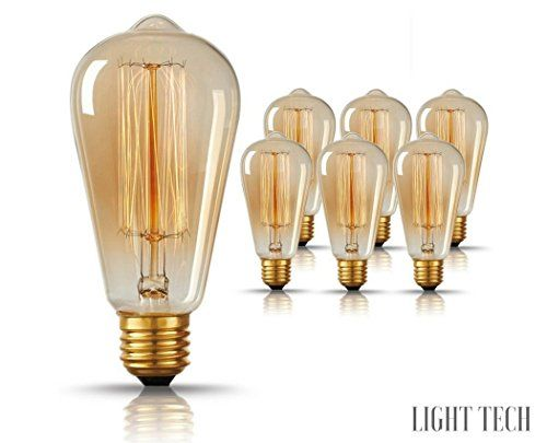 Original Vintage Thomas Edison Incandescent Light Bulbs 6 Pack Tungsten Filament Amber Clear Glass 60 Edison Light Bulbs Incandescent Light Bulbs Light Bulb
