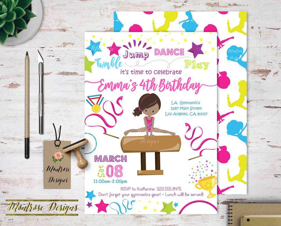 Gymnastics Birthday Party Invitation, Tumble, Jump, Dance, Play ...