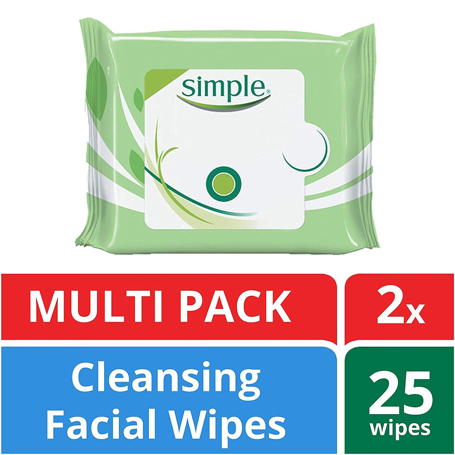 Simple Facial Wipes, Cleansing, 25 ct, Twin Pack Facial