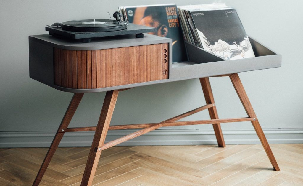 Hrdl The Vinyl Table Record Player Cabinet Displays Your Record Collection Turntable Furniture Vinyl Record Collection Record Player Cabinet