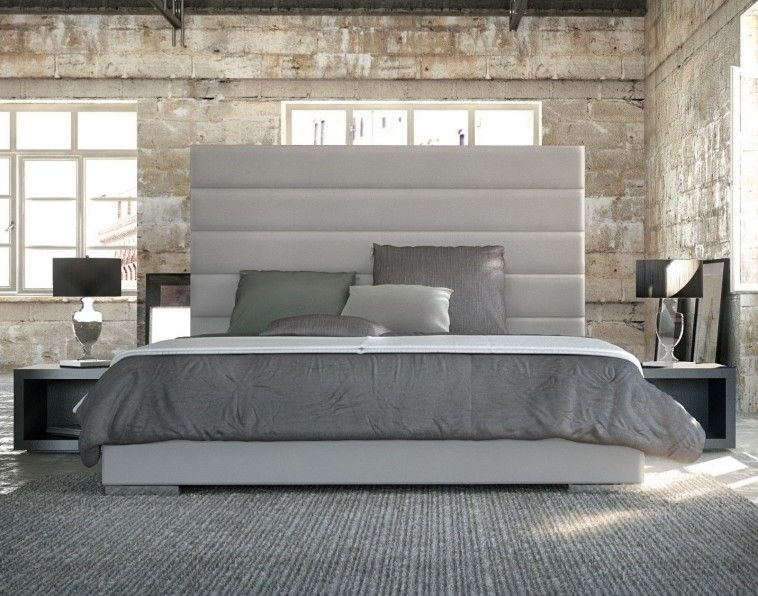 Contemporary Bed Frame With Tall White Upholstered Headboard With