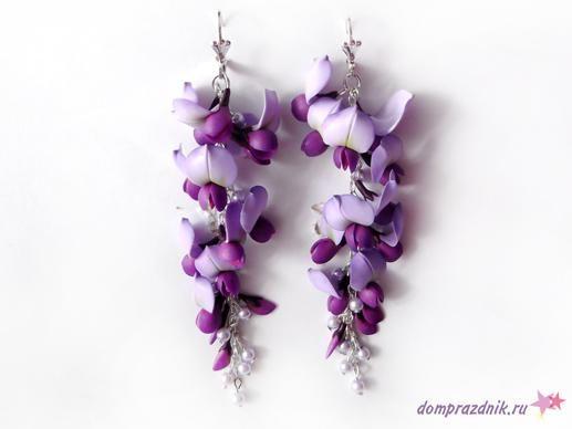 Flowers polymer clay earrings