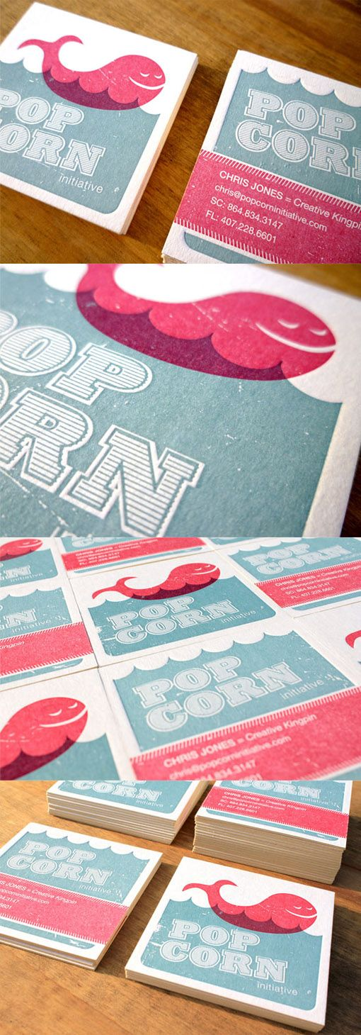 Quirky Two Colour Letterpress Business Card For A Creative Agency
