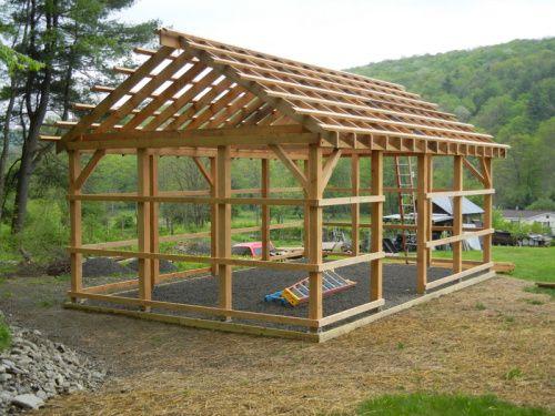 16x24 King Post Plan Timber Frame Hq Backyard Pavilion Timber Frame Plans Pavilion Plans
