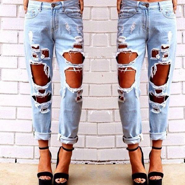 Europe Fashion Women Boyfriend Cut-out Punk Ripped Jeans Pants Trousers