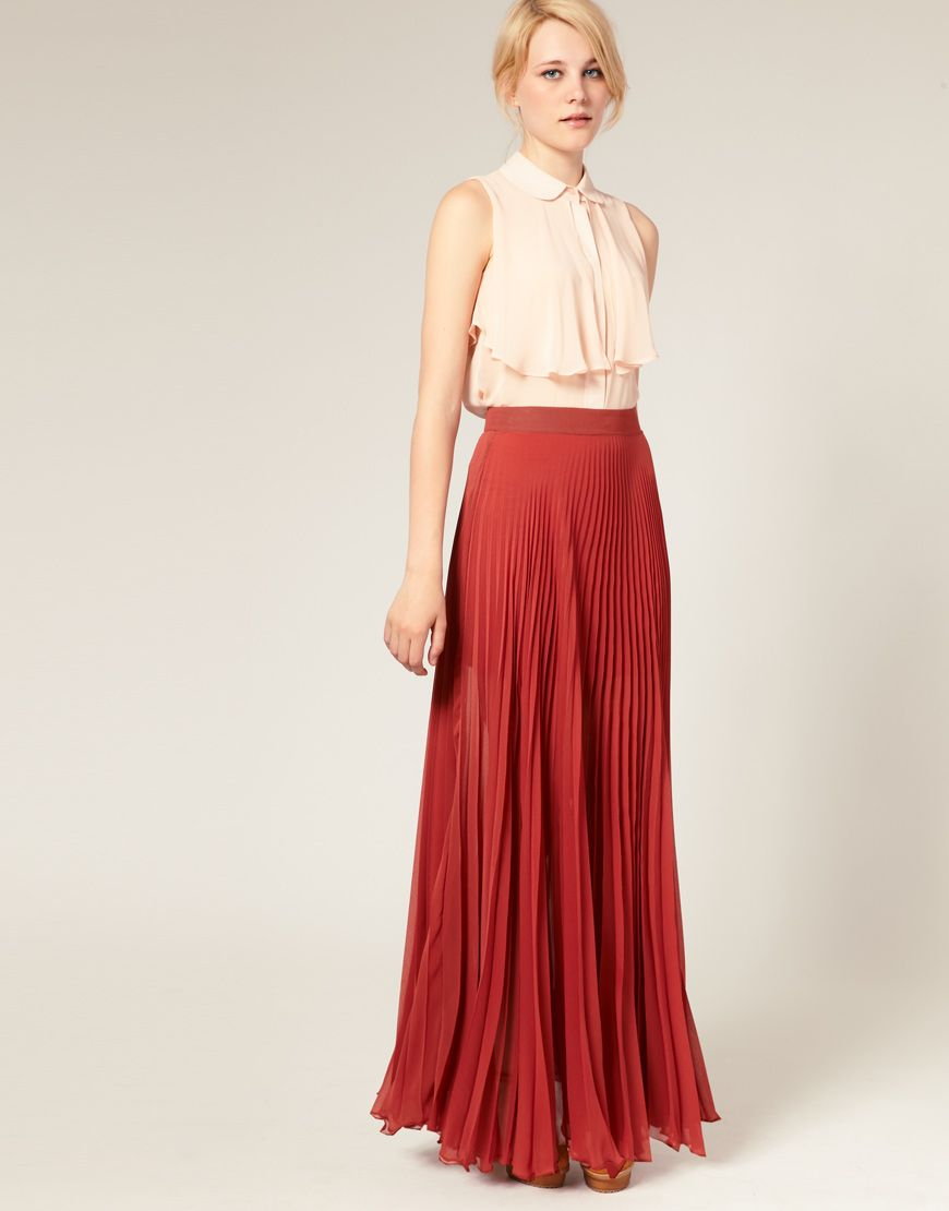 Pleated Maxi Skirt | Red maxi skirts, Skirts and Mint coral