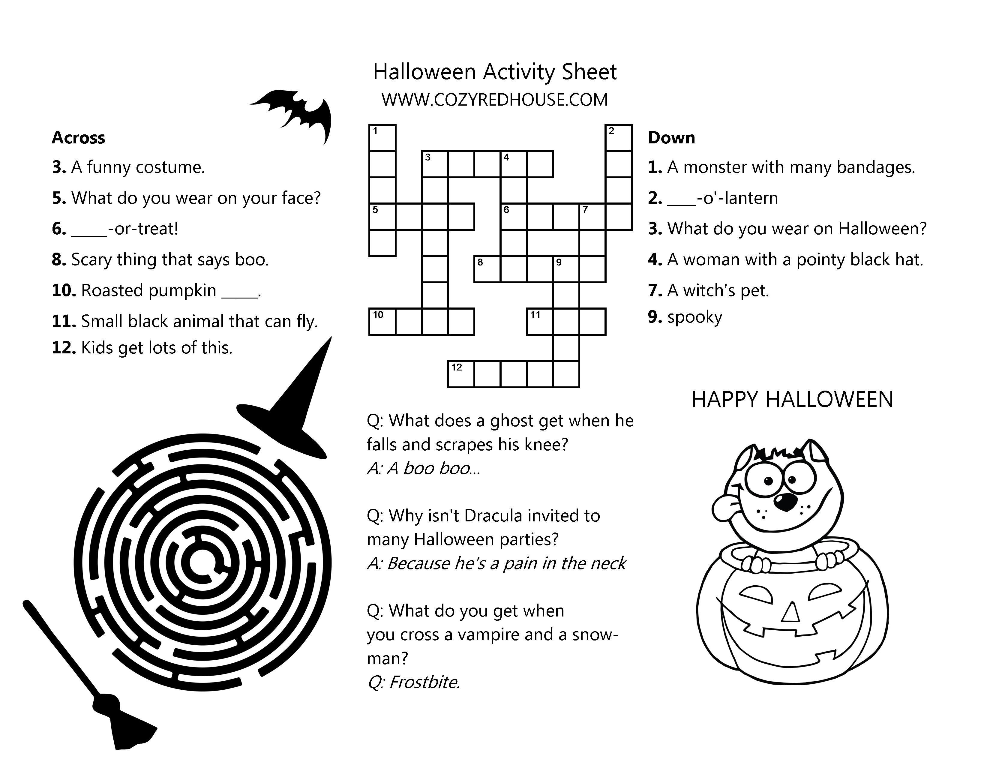 Halloween Fall Activity Sheet