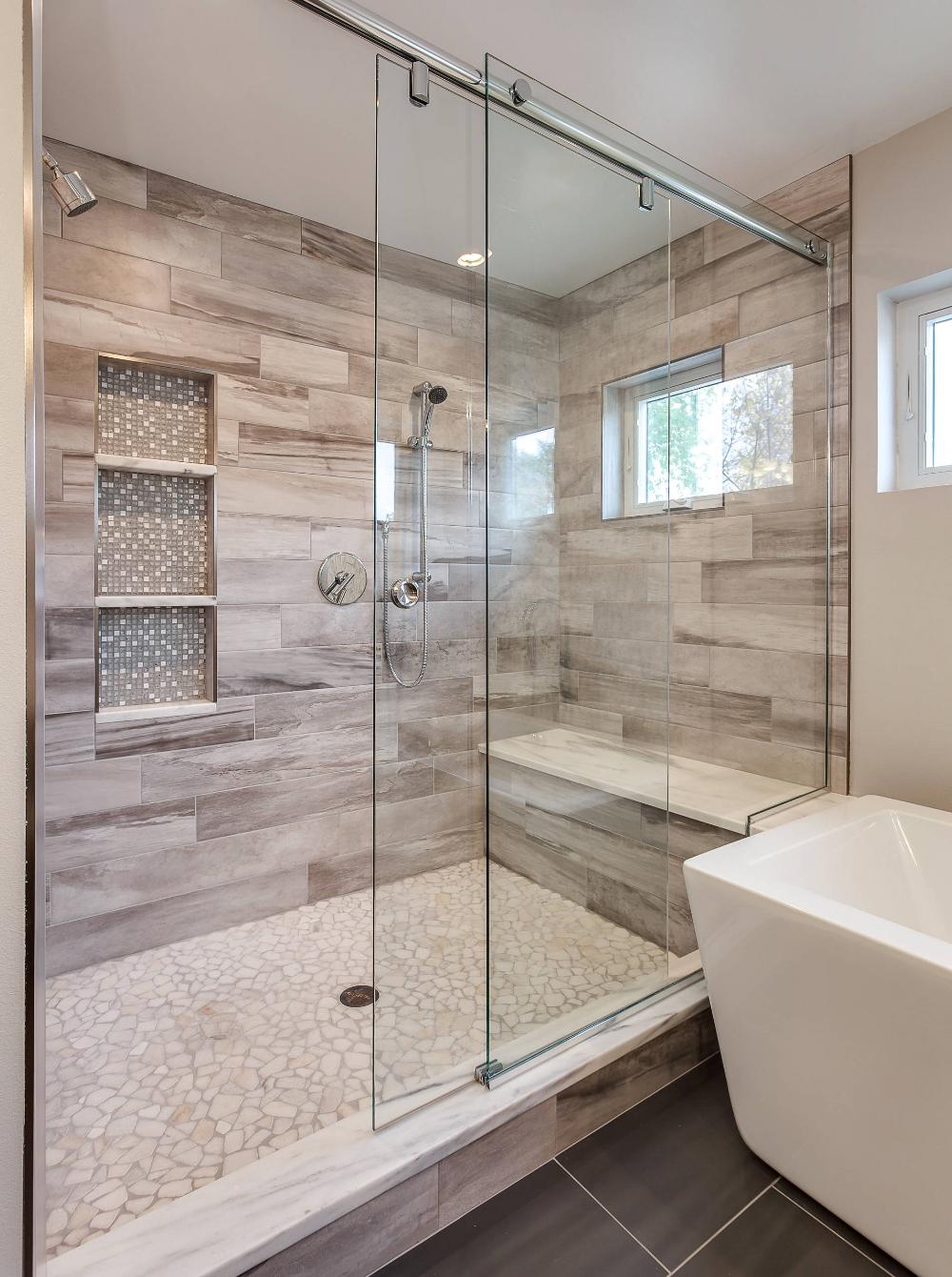 Gorgeous Custom Bathroom With Extra Large Shower Contemporary Bathroom Den Bathro In 2020 Custom Bathroom Bathroom Remodel Shower Bathroom Remodel Master