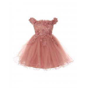 b32288b5d Little Girls Mauve 3D Floral Sequin Tulle Off Shoulder Flower Girl Dress 2-6