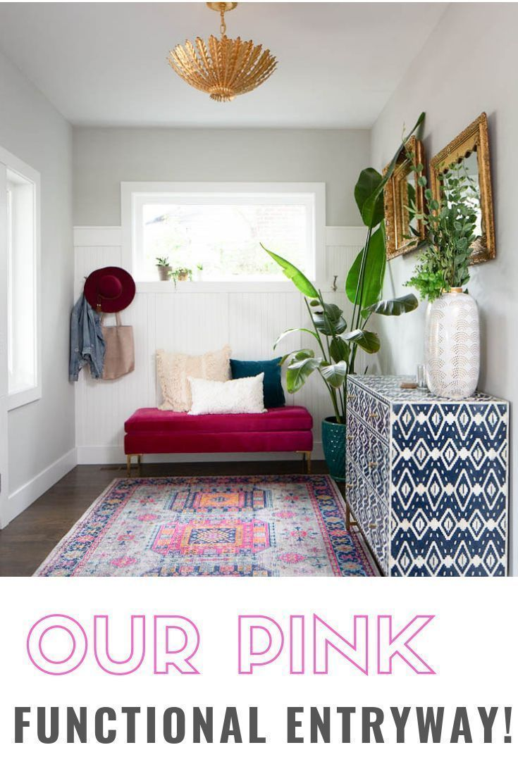 A Pink Entryway - Paisley + Sparrow  This is such a pretty pink entryway full of decor ideas! Great use of colors and function – dress #entryway #Paisley #Pink #Sparrow