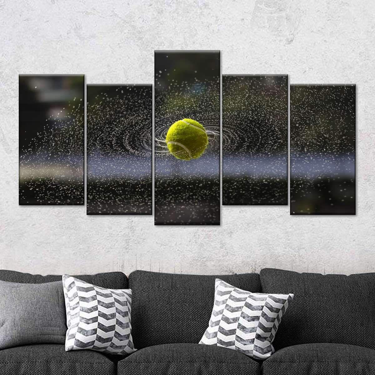 Tennis Ball Action Multi Panel Canvas Wall Art In 2020 Wall Canvas Wall Art Wall