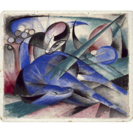 Dreaming Horse Canvas Art - Franz Marc (24 x 36)