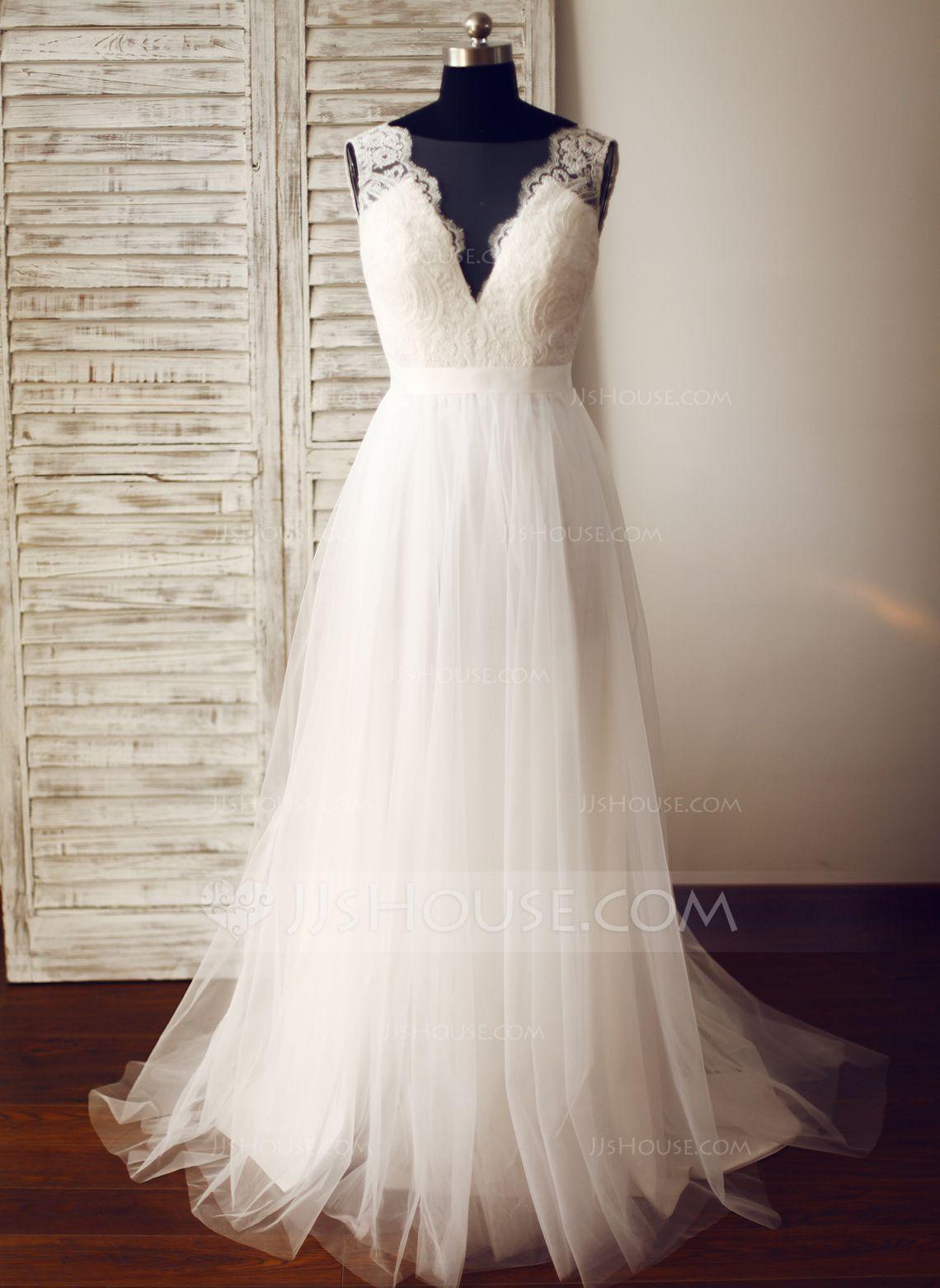 190 00 A Line Princess V Neck Sweep Train Tulle Wedding Dress Jj S House Wedding Dresses Sweep Train Wedding Dress Tulle Wedding Dress [ 1562 x 1140 Pixel ]