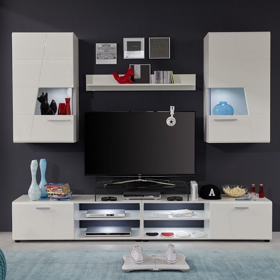 Alison Living Room Set In White With High Gloss Fronts And