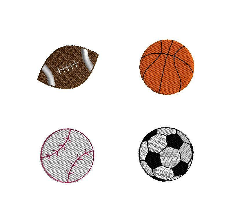 Mini Sports Balls Football Basketball Baseball Soccer Ball Machine Embroidery Design S Embroidery Design Sets Machine Embroidery Designs Machine Embroidery