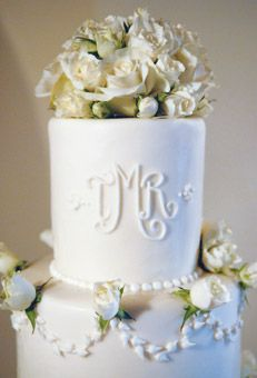 Monogrammed Wedding Cake With Roses