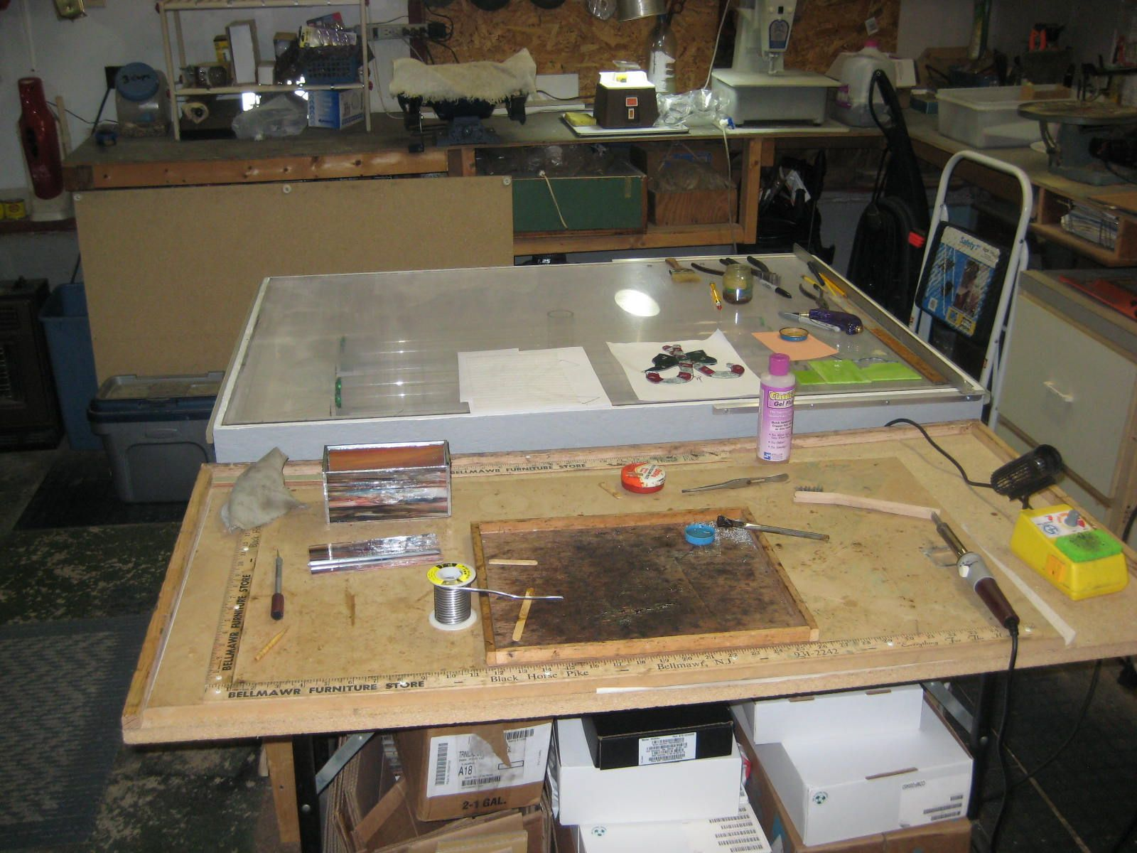 Stained Glass Work Table: Rulers on the edges, raised ...