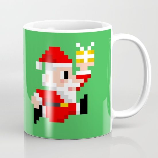 8-bit Christmas: Santa Claus Coffee Mug. Because Santa beats Mario's High Score every year! (8bit art, graphics, pixels, retro gamer, video games, lol, funny, xmas, vintage, gift ideas)