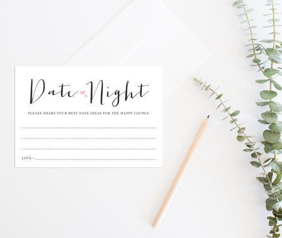 Printable Date Night Cards, Printable Bridal Shower Game, Date Night Ideas Cards, Date Night Cards, Bridal Shower Games