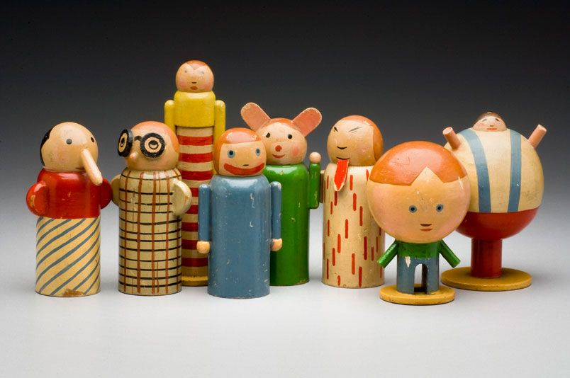 Minka Podhájská (Czechoslovak, born Moravia [now Czech Republic], 1881-1963). Series of Personifications of Childhood Misdeeds. 1930. Painted wood, dimensions vary, largest: 13 cm tall. Museum of Decorative Arts, Prague.