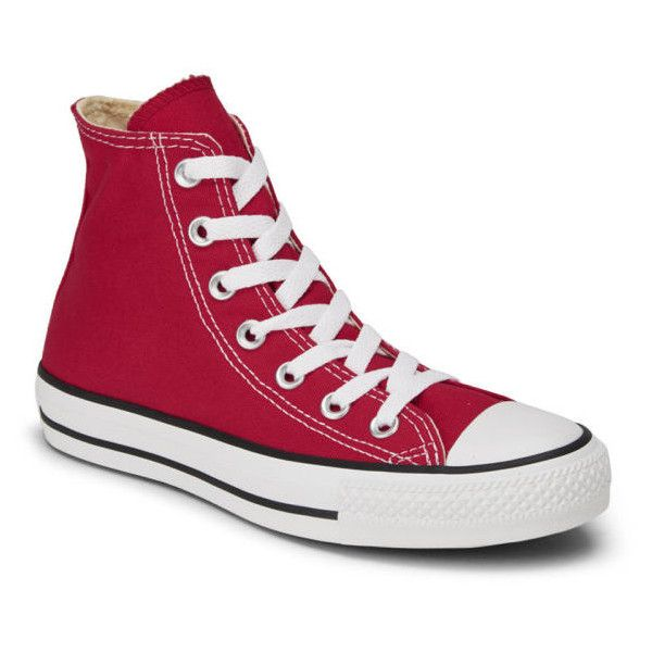 48ca3e9eac97 Converse Unisex Chuck Taylor All Star Canvas Hi-Top Trainers - Red ( 73) ❤  liked on Polyvore featuring shoes
