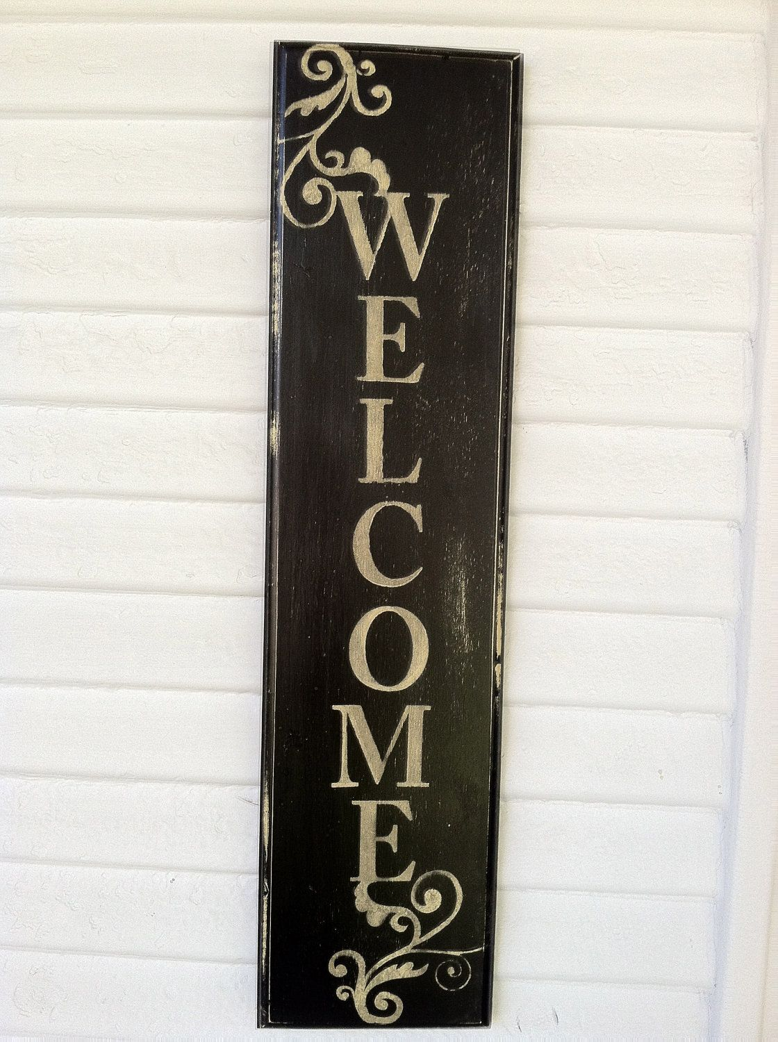 Hand Painted Aged Wooden Welcome Sign by by lauraleidesign on Etsy ...
