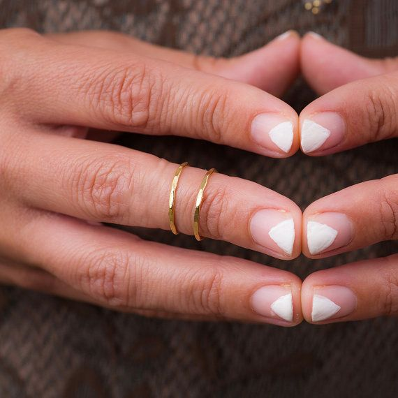 2 Midi Ring Set Gold Knuckle Ring Set Knuckle Ring