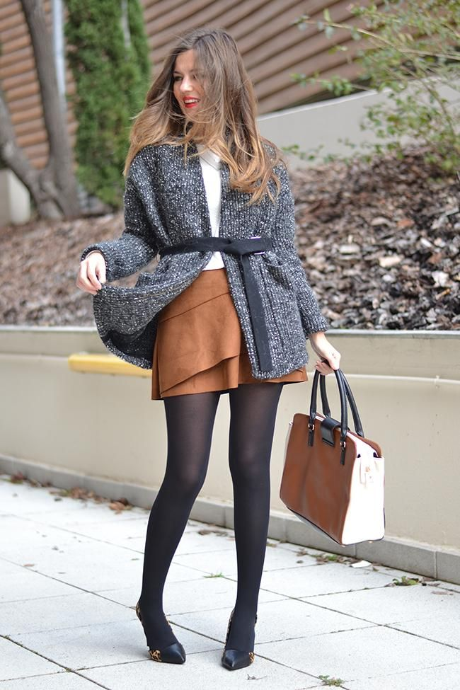 712fddafef3 Ways to Wear Spring s Biggest Trend  The Brown Suede Skirt - belted gray  cardigan