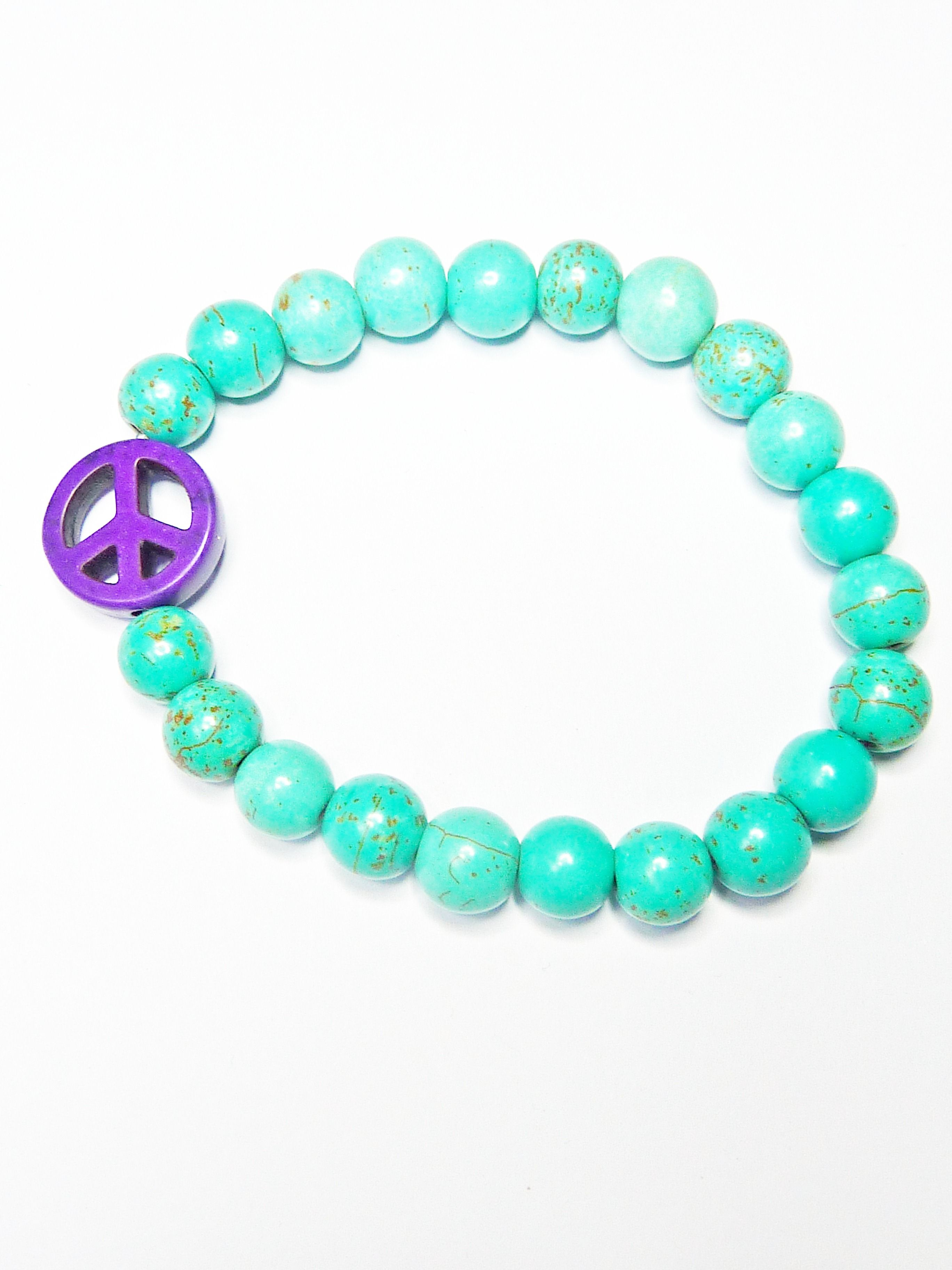 Semi Precious Turquoise Peace Bracelet Www Jacyandjools Co Uk