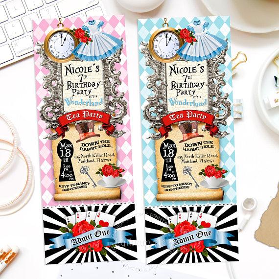 ALICE IN WONDERLAND Invitation, Alice in Wonderland Ticket - printable ticket invitations
