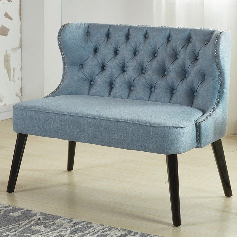 Aguayo Tufted Wing Back Settee Bench Furniture Living