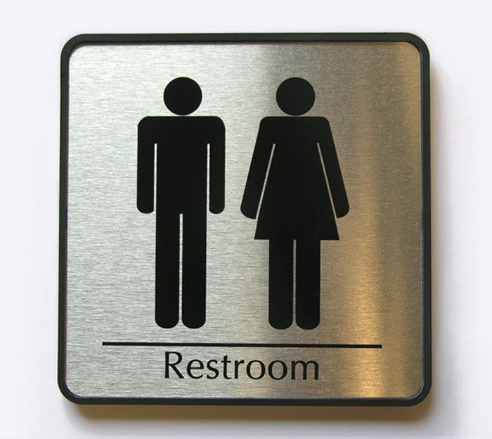 Business Restroom Sign In Brushed Metal With Images Restroom