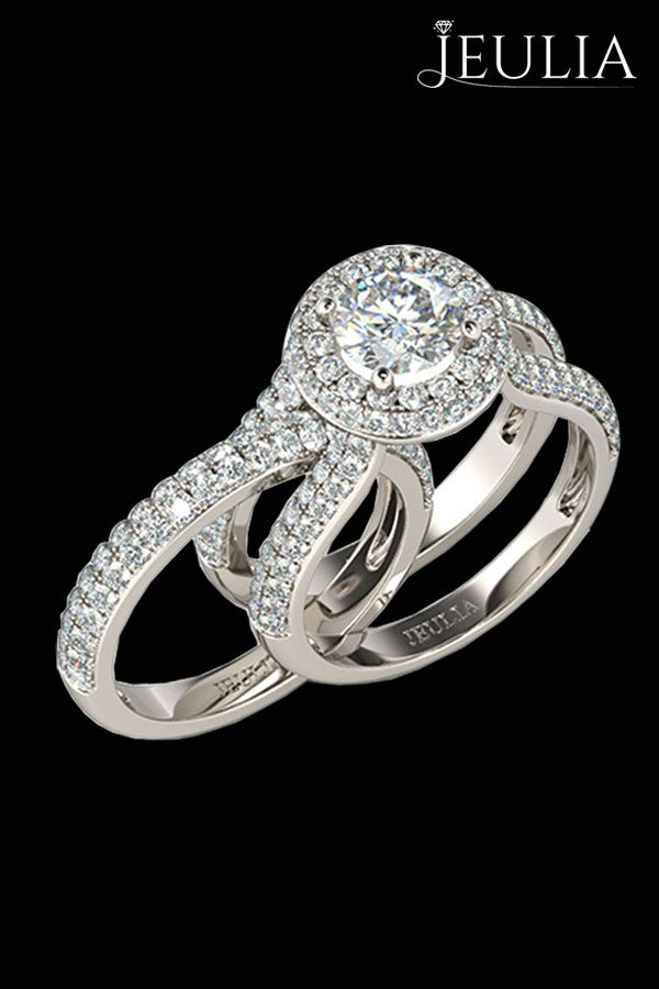 Wedding Set 125CT Two In One Halo Round Cut Created White Sapphire Rhodium Plated Sterling