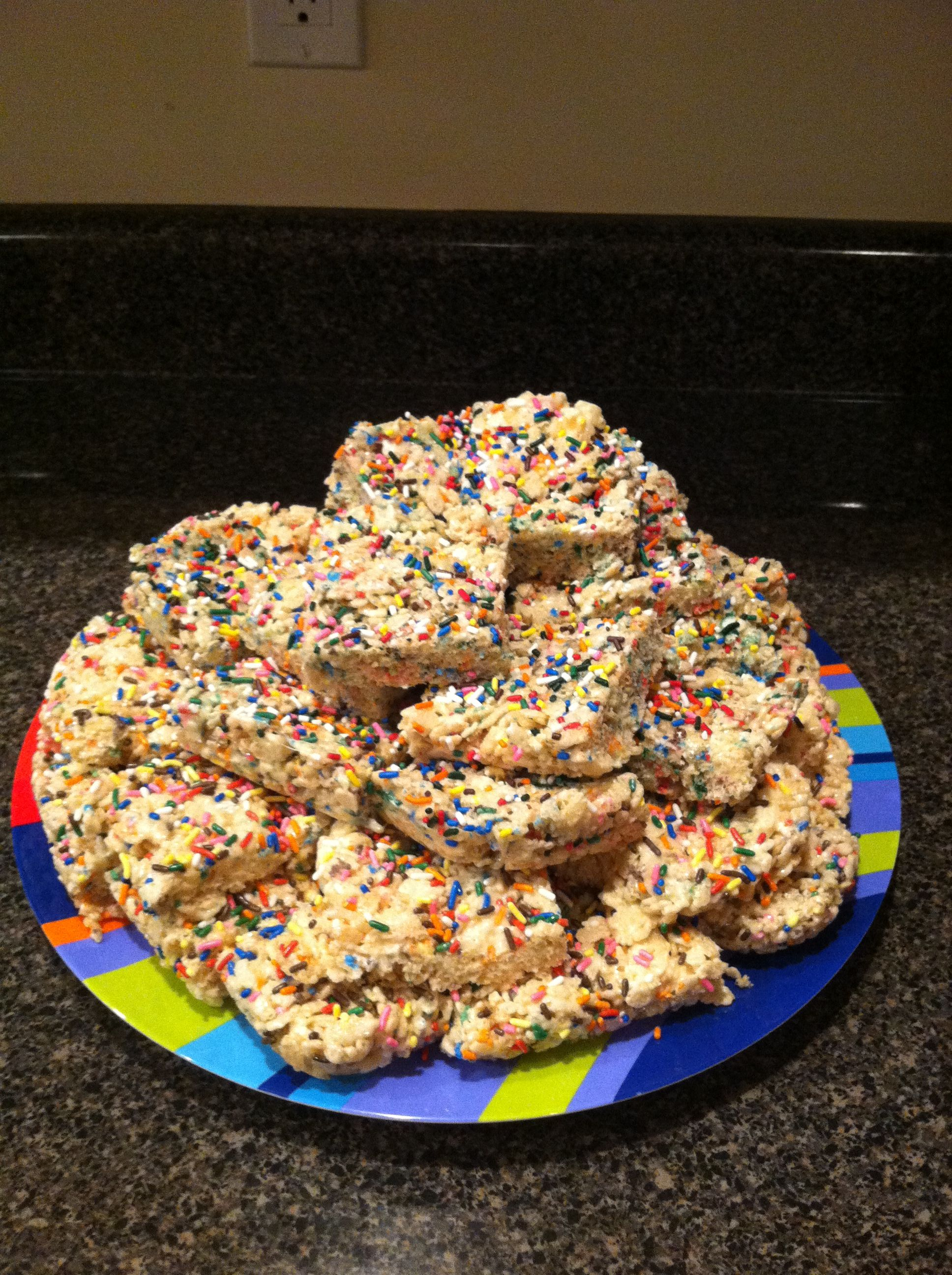 Rice Crispy Treats with cake batter and sprinkles ...