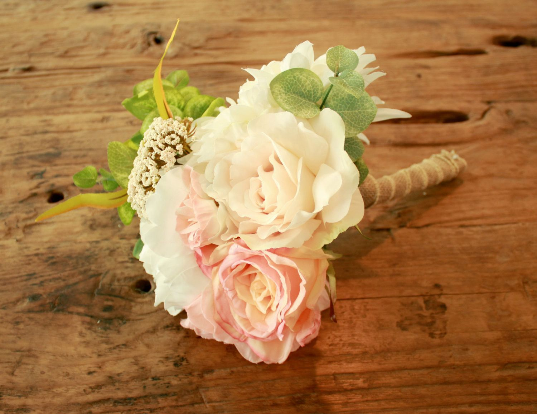 Silk Blush Peony Rustic Wedding Bouquet, Rustic Blush, White Rose Peony, Coral, and Dahlia - Silk Bouquet