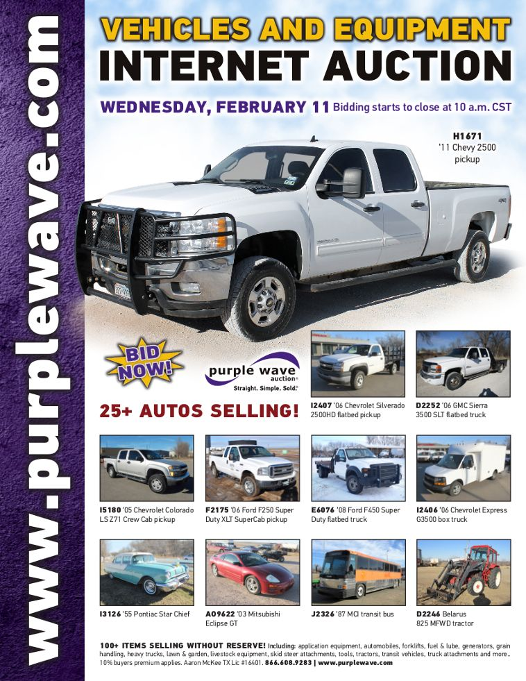 Vehicles And Equipment Auction February 11 2015 Http Purplewave Com A 150211a Used Construction Equipment Construction Equipment Vehicles