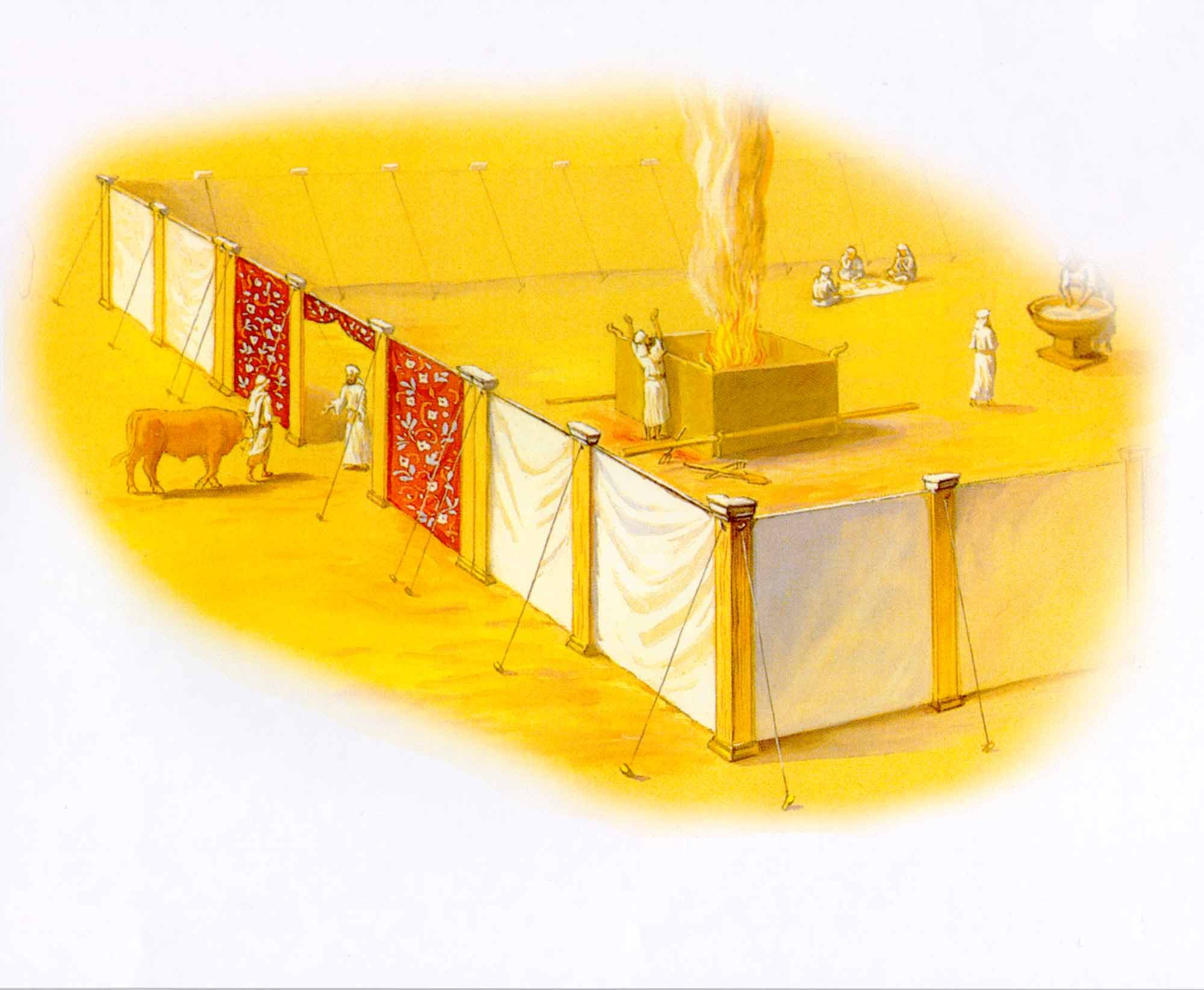Tabernacle of Moses: Entrance Brazen Laver outer court | Bible-Old ... for Brazen Altar And Laver  45gtk
