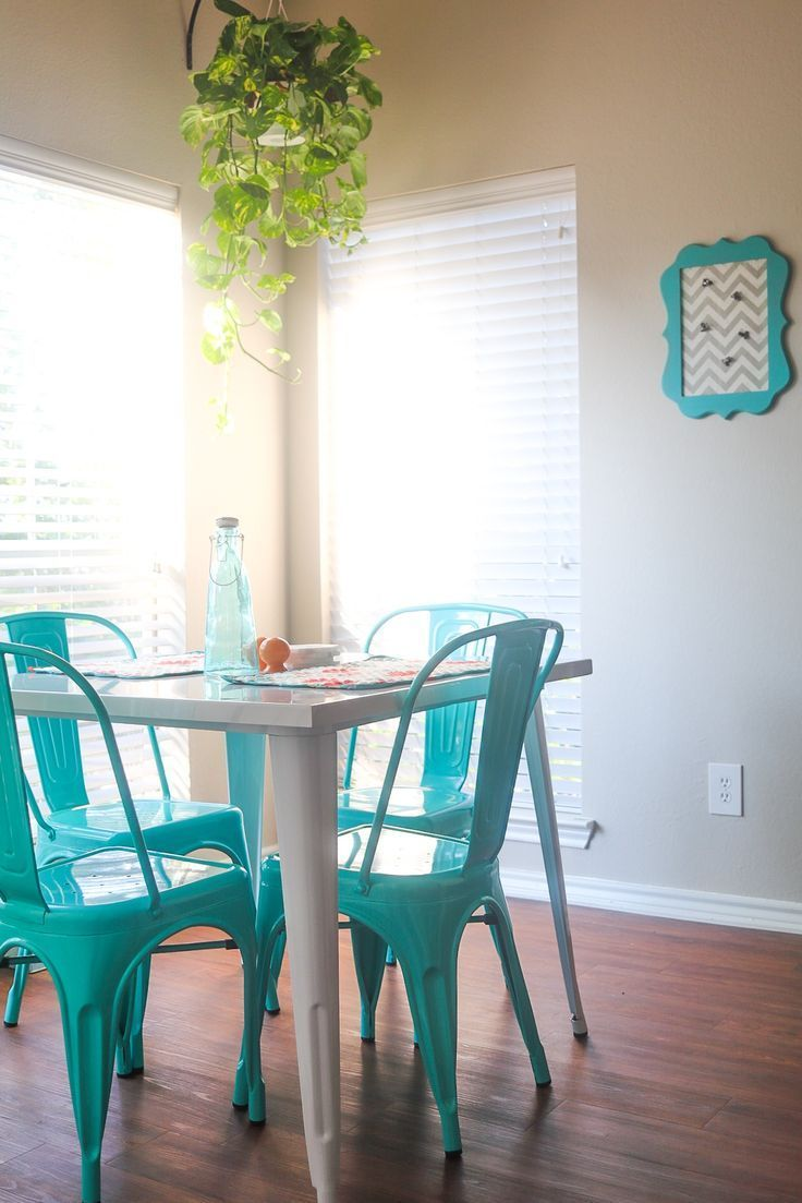 Conservatory Room Addition In The Uk 1040x1485 In 2020: White Metal Table With Aqua Metal Chairs, Dining Room Ideas, Apartment Ideas, Teal Chairs