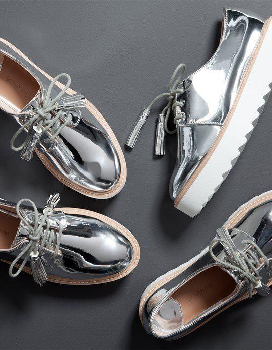Sapatos blucher metalizados sola TODOS eva TODOS sola MULHER Stradivarius ed5a12